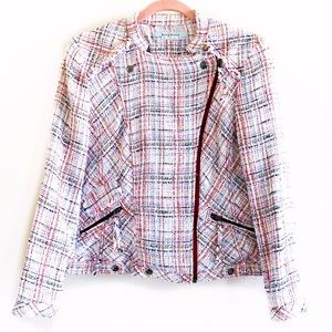 ZARA BASICS Tweed Frayed Moto Zip Jacket